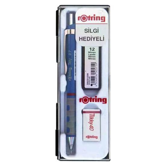 rotring-tikky-0.7-versatil-kalem-silgi-uc-set-mavi